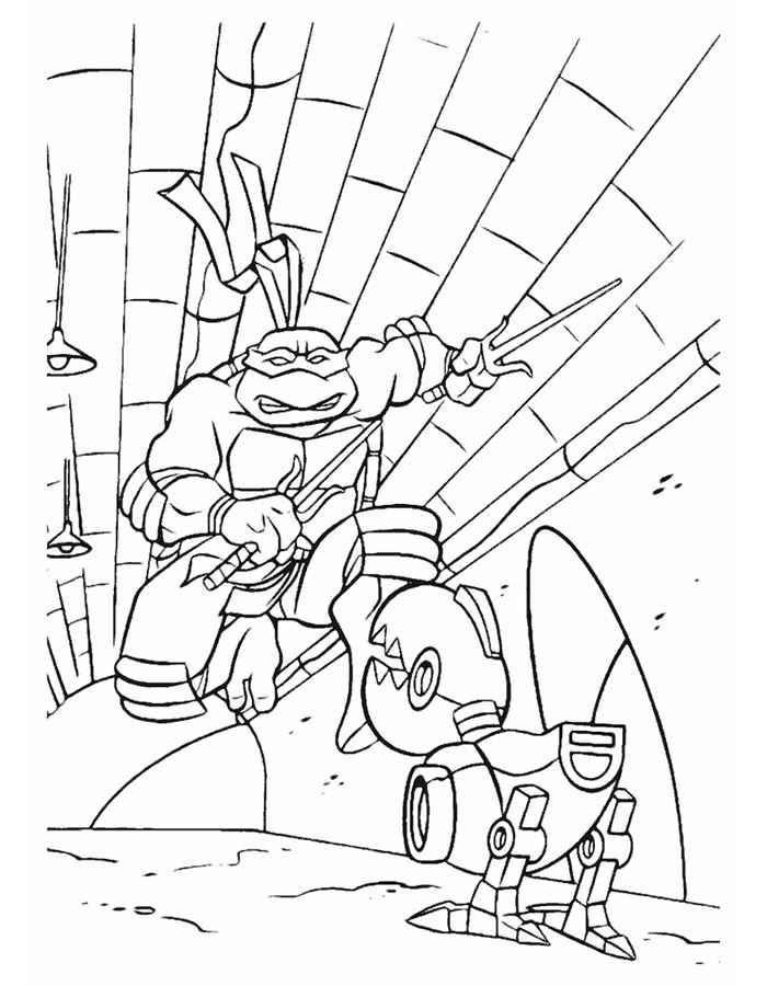 Рафаэль на падает на робота крысу чтобы его уничтожить ...