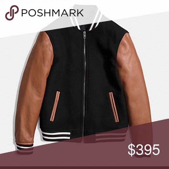 c09c1db3aa0 Coach varsity jacket Leather and wool varsity jacket in saddle and black.  Men's size small. Genuine Coach brand, brand new with tags.