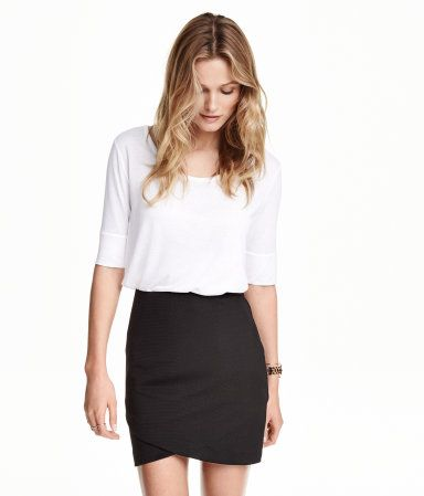 H&M Jersey Top (White) $9.95. Top in soft, gently draping jersey with elbow-length sleeves and a rounded hem.