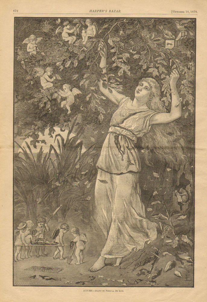 Cupid, Angel Wing, Babies, Pretty Lady, Autumn, Vintage 1879 Antique Art, Print, #Vintage