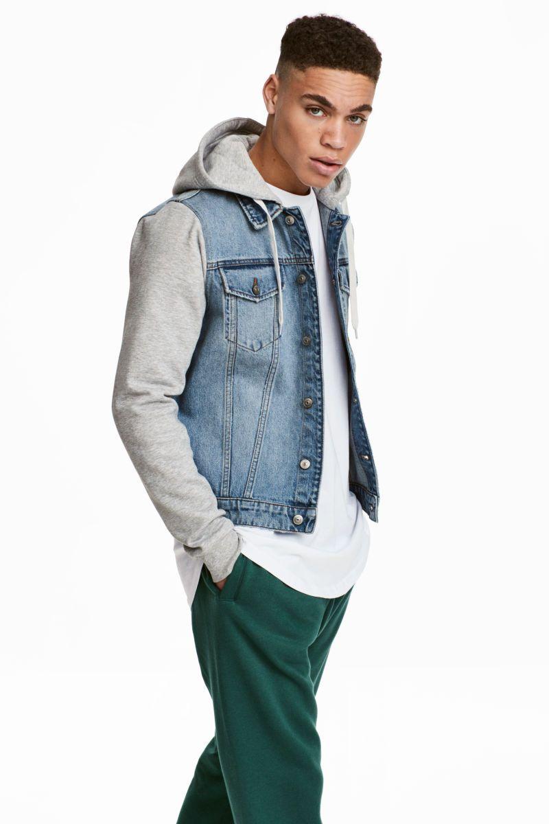 Hooded Denim Jacket Denim Blue Gray Men H M Us Hooded Denim Jacket Denim Jacket Mens Jackets [ 1200 x 800 Pixel ]