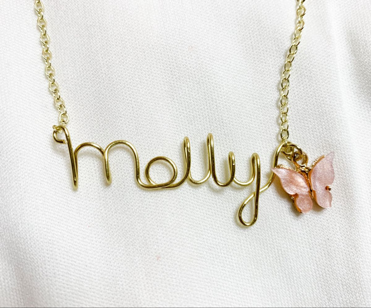 Personalized Name Necklace with Butterfly Charms