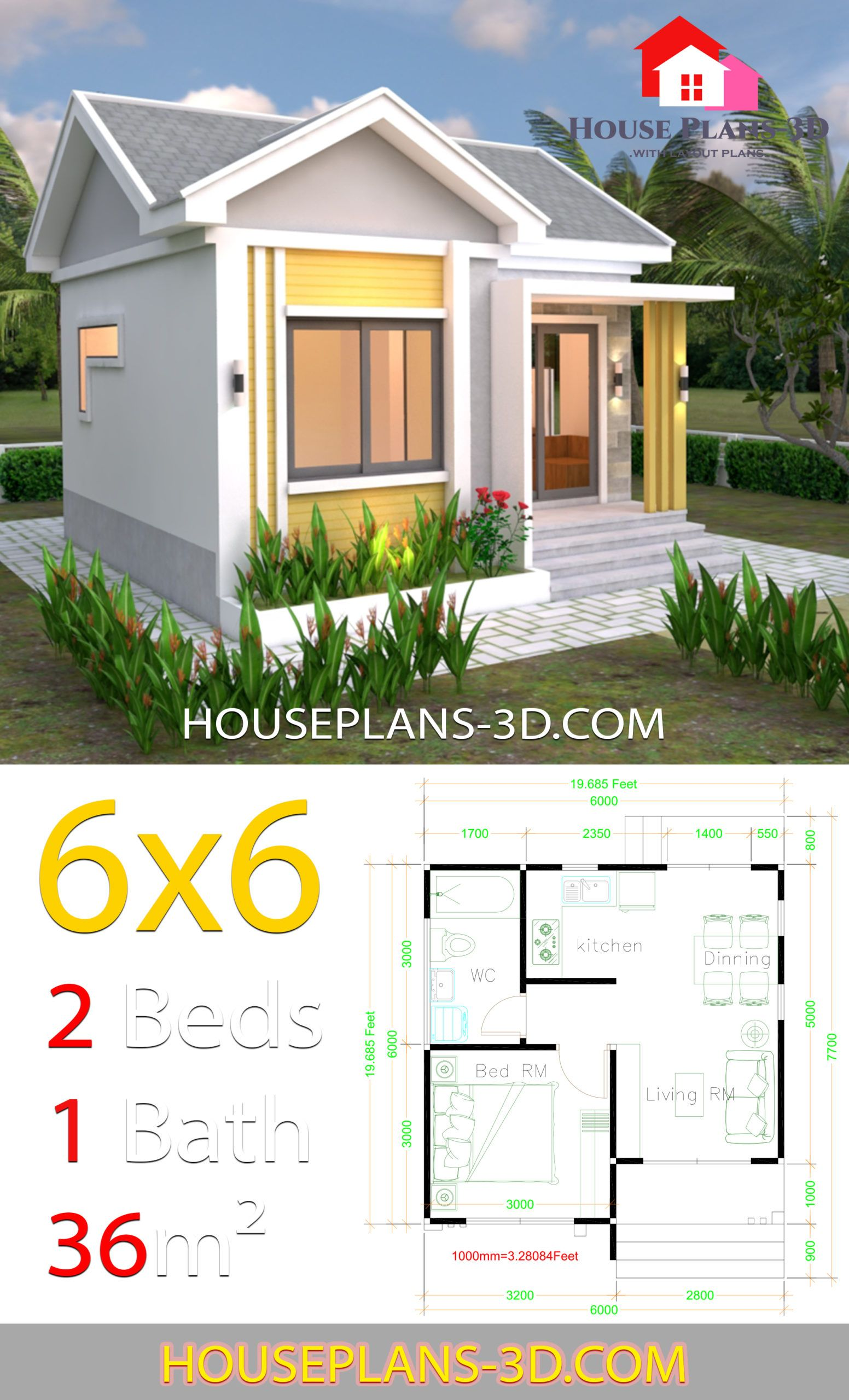 House Plans 6x6 With One Bedrooms Gable Roof House Plans 3d Small House Layout House Layouts House Construction Plan
