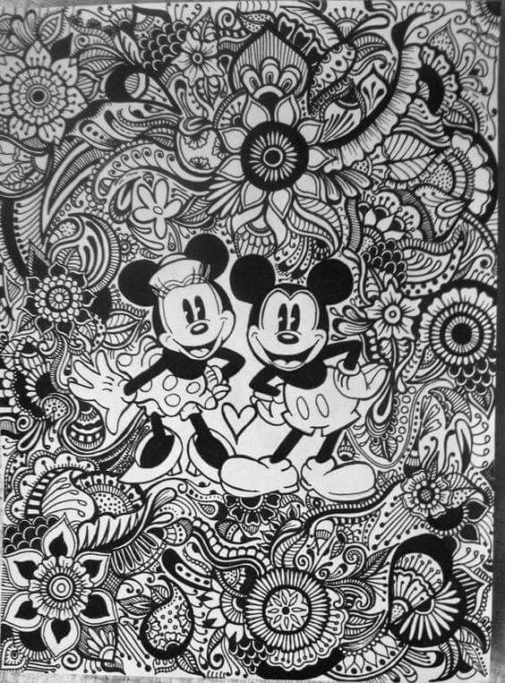 Mickey Minnie Coloriage Intricate Disney Coloring