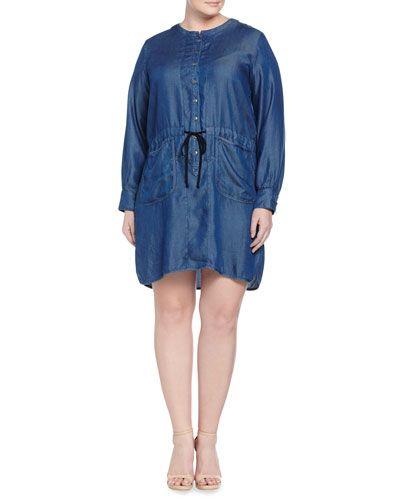 Jaxson Long-Sleeve Denim Shirtdress, Indigo, Women's