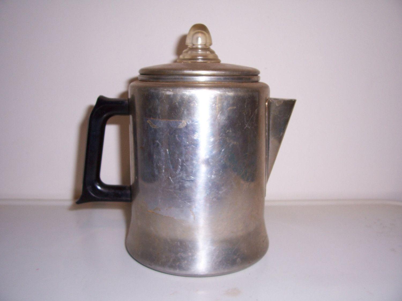 Old Coffee Pots Nice Vintage Full Unit Maker Percolator Aluminum With Black