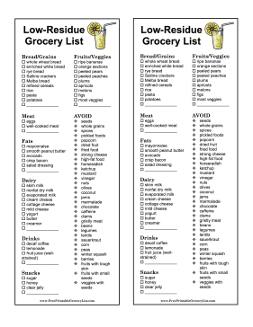 Food List For Low Residue Diet