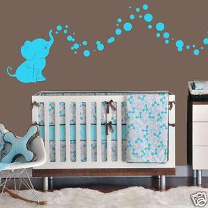 cutie elephant bubbles wall decal vinyl wall nursery room decor gift - Baby Themed Rooms