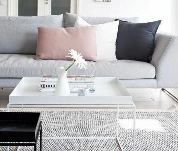 Un Salon En Gris Et Blanc C Est Chic Voila 82 Photos Qui En Temoignent Decoration Salon Blanc Idee Deco Salon Gris Et Tapis Avec Canape Gris