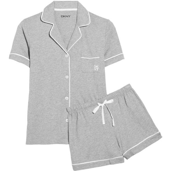 DKNY Sleepwear Cotton-blend jersey pajama set (395 NOK) ❤ liked on Polyvore featuring intimates, sleepwear, pajamas, grey, dkny, cotton jersey, dkny pajamas, dkny pajama set and cotton jersey pajamas