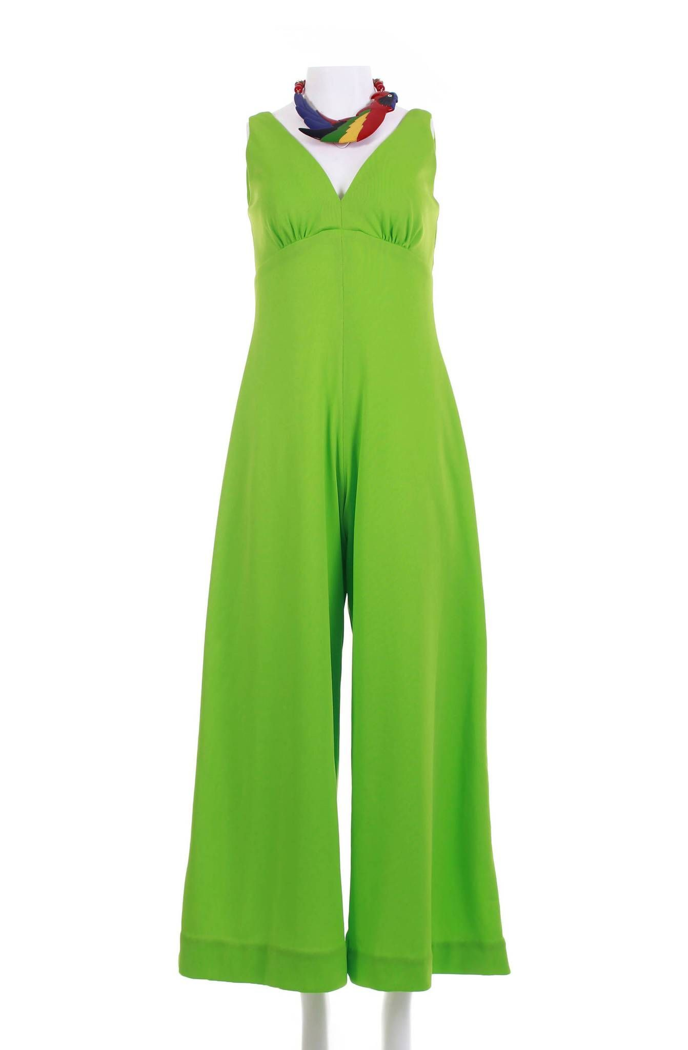 3cf24095c6b2 70s Disco Jumpsuit Palazzo Pants Bell Bottom Jumpsuit 70s Clothing Wide Leg  Pants Lime Green Vintage Clothing Women s Size SMALL 34