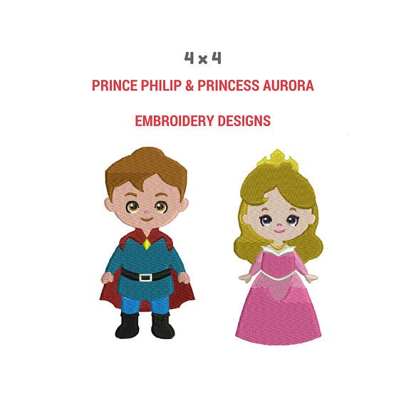 Prince Philip and Princess Aurora Embroidery Design Patterns