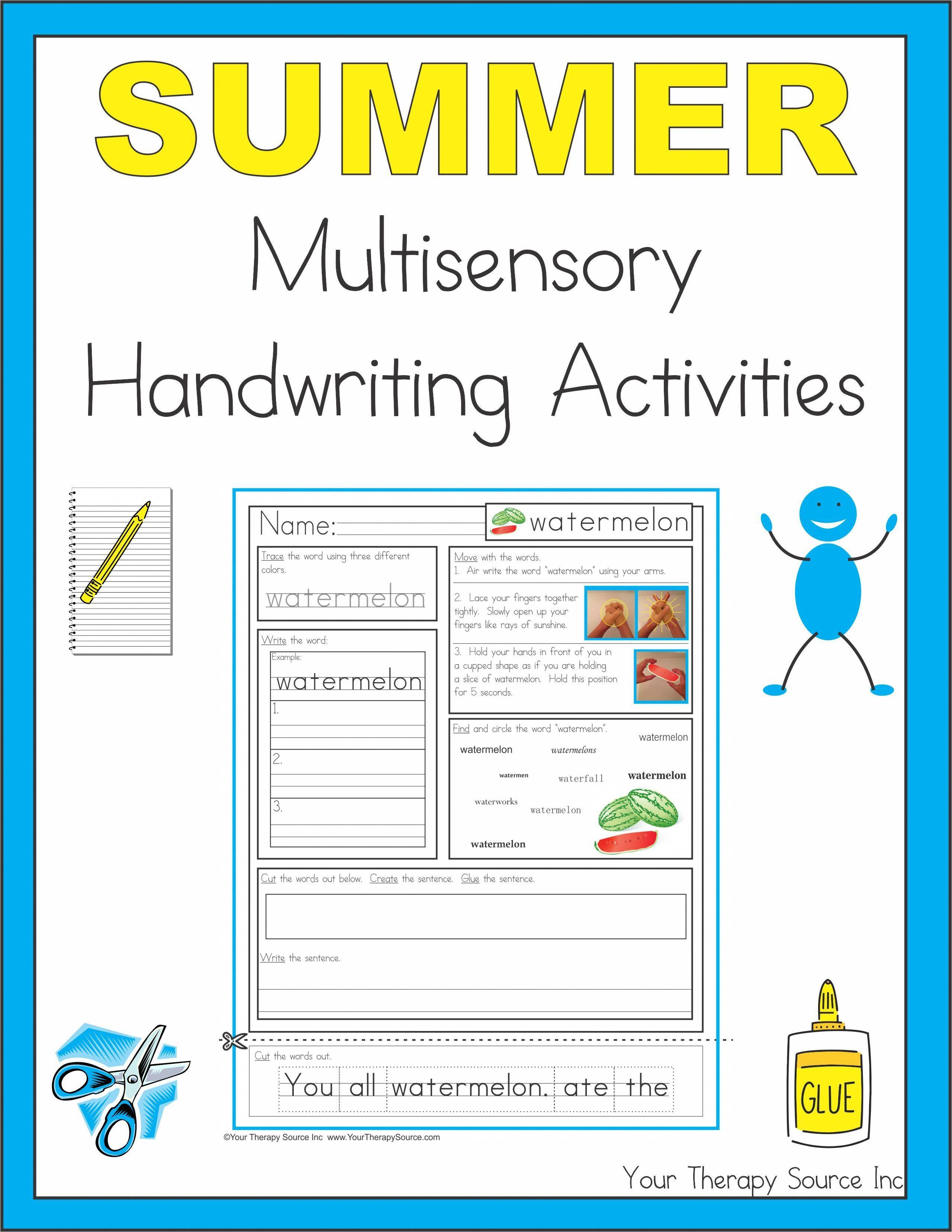 Summer Multi Sensory Handwriting Activities Printables