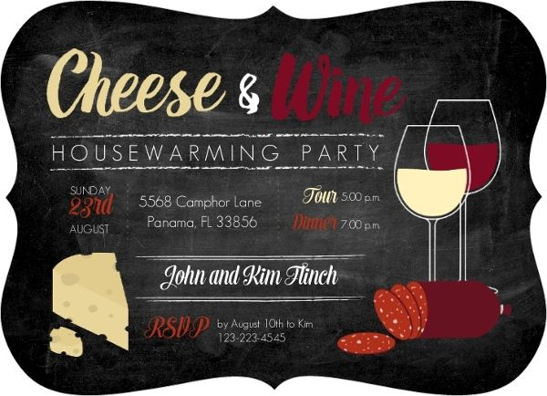 Cheese and Wine Housewarming Party Invitation Pinteres