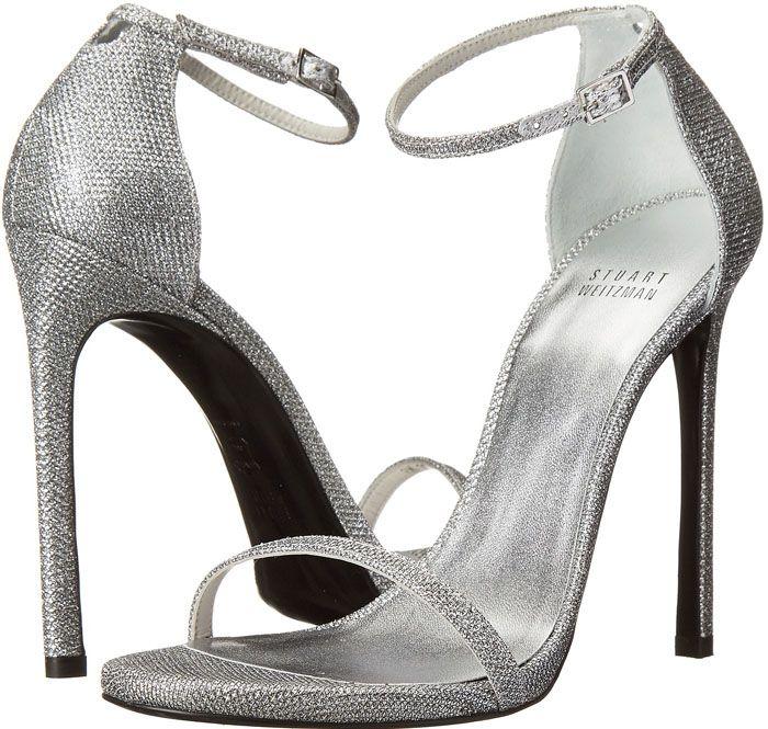 "46f6c580cde5 Julianne Hough in Stuart Weitzman ""Nudist"" Glitter Sandals Silver High Heel  Sandals"