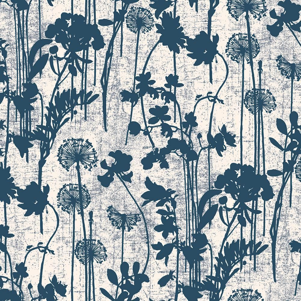 Tempaper Distressed Floral Ivory And Navy Self Adhesive Removable