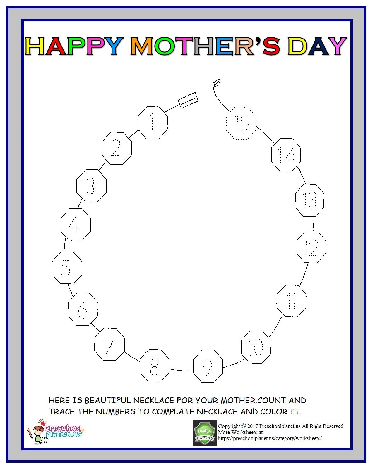 Mothers Day Number Worksheet