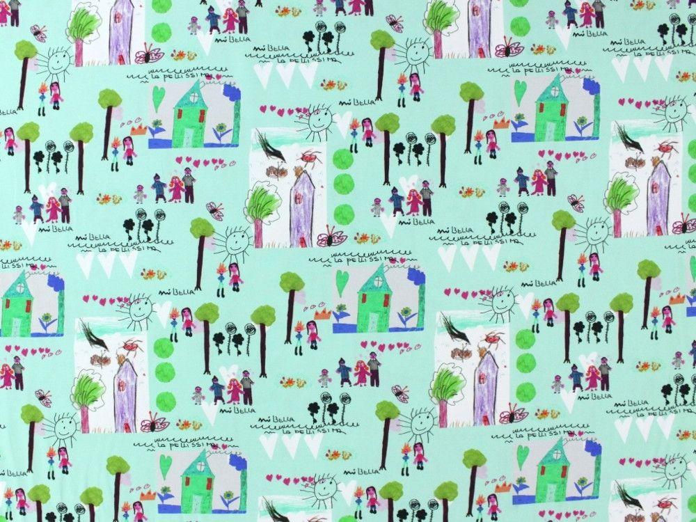 Baumwolljersey Malspass Family-Life, hellmint, 235.806-3000,  bei stoffe-hemmers.de, Weicher und trendiger Baumwolljersey im gestochen scharfen Digitaldruck,