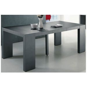 Table Console Extensible Gris Satine 4 Rallonges Xl Table A Manger Console Consoles Table Console Extensible