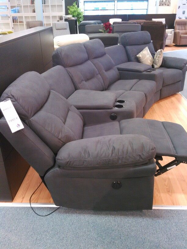 Home Theater Recliner Sofa With Cup Holders And Armrest Storage