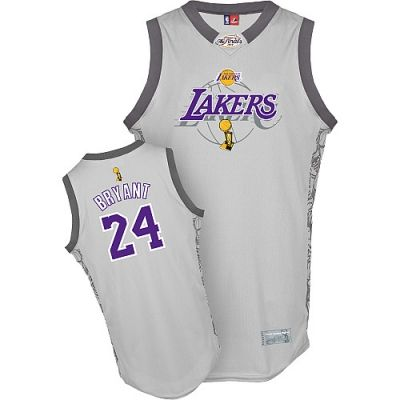 NBA Los Angeles Lakers #24 Kobe Bryant Grey Authentic 2010 Finals Champions Jerseys