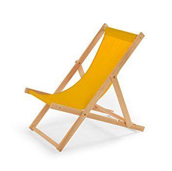Chaise longue de jardin en bois Relax Chaise de plage jaune ...