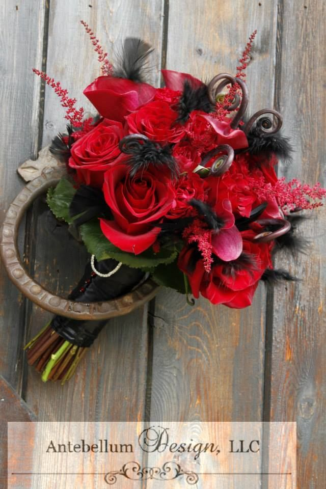 Red Bouquet With Wedding Flowers Like Astilbe Monkey Tail And Black Feathers Dallas