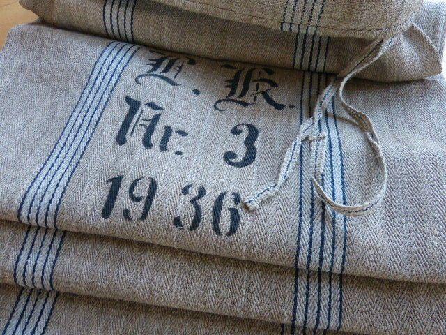 Antik Getreide Mehl Leinensack   blau/weiß Fischgrät Streifen   J. K. Nr.11/1936
