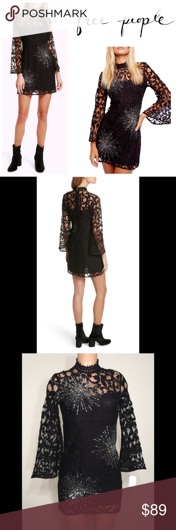 Northstar black lace mini dress. NWOT Dance through party season in a showstopping mini featuring en...