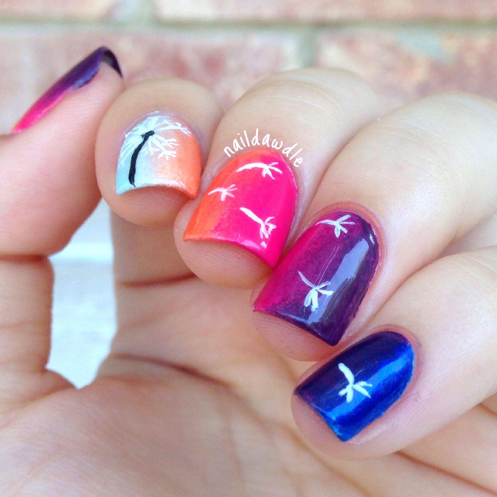 Turquoise Base Blowing Dandelion Flower Nail Art | Cute nails ...