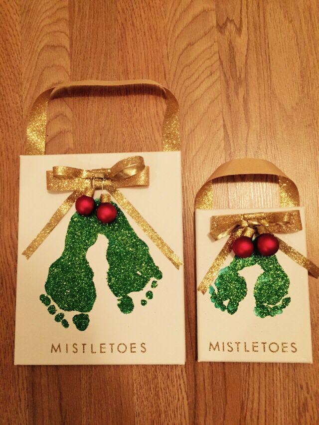 Mistletoes footprint canvas Christmas kids craft Mistletoes