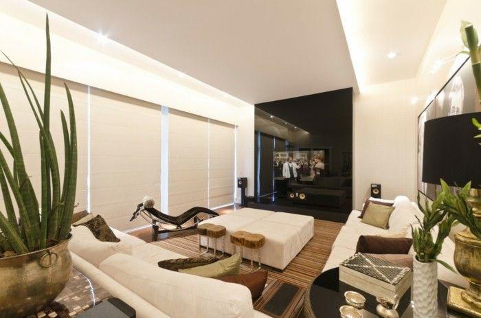 Nice Sofa Stoff Wohnzimmer Einrichten Helle Einrichtung Pflanzen
