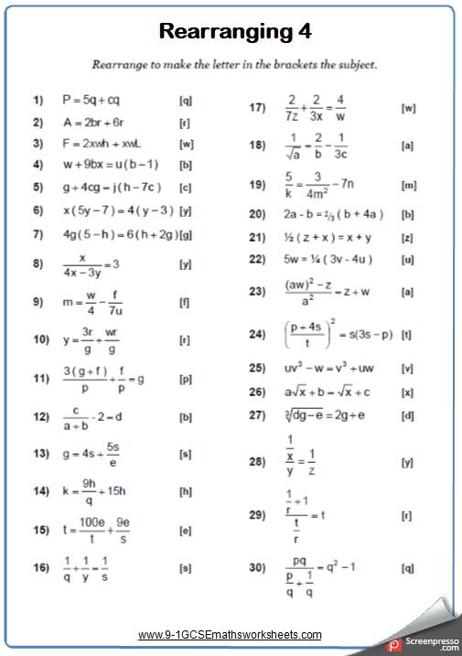 rearranging formulae b maths worksheet and answers 9 1. Black Bedroom Furniture Sets. Home Design Ideas