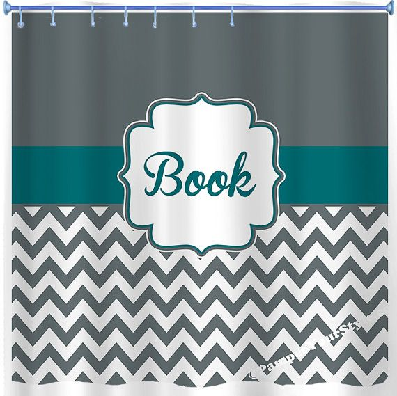 Charcoal And Teal Chevron Shower Curtain Custom Monogrammed