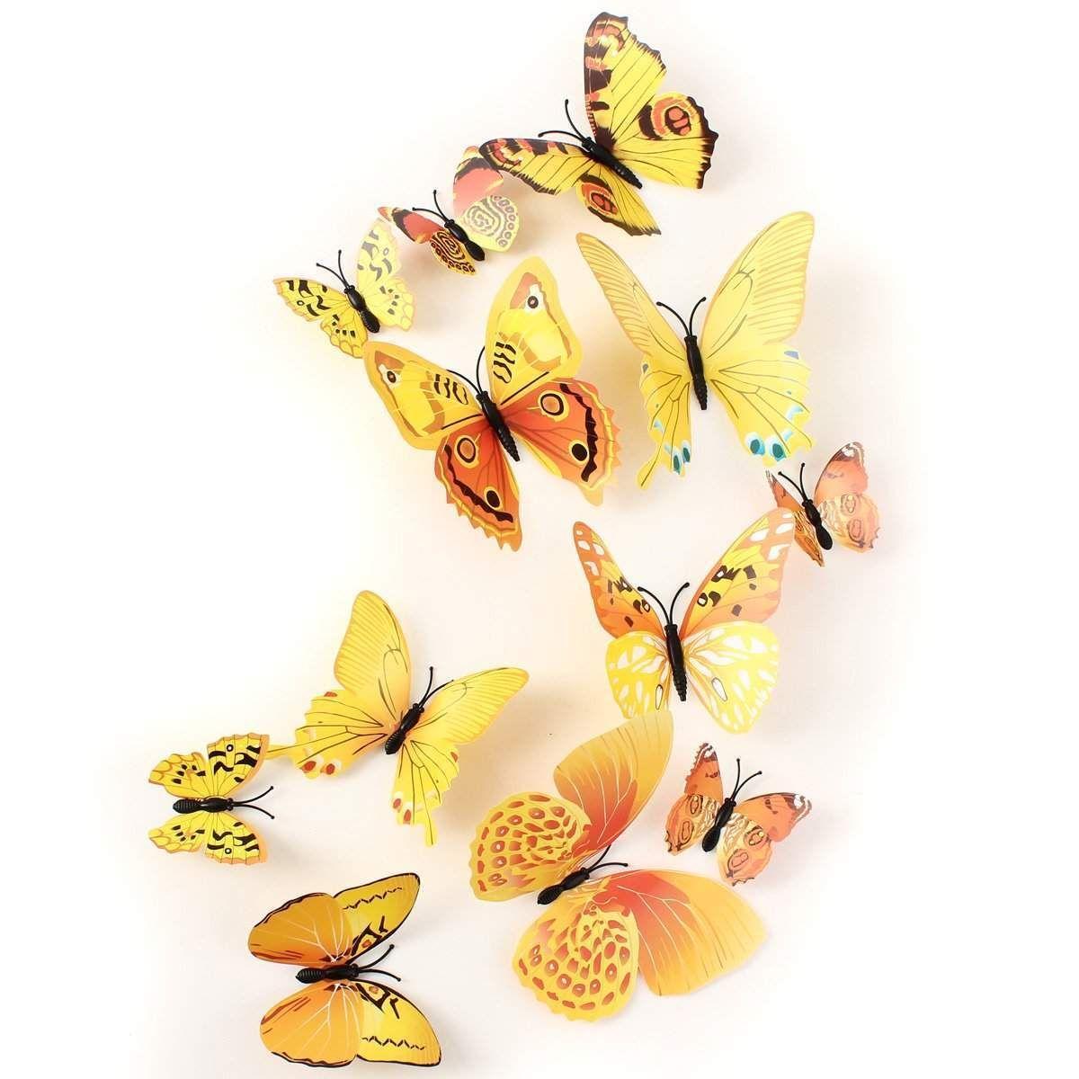 Wallmart.win 12Pcs 3D Yellow Butterfly Wall Stickers Art Decals Home ...