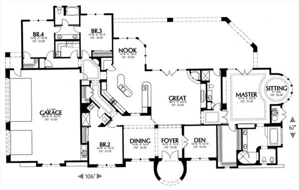 Mediterranean House Plan with 4 Bedrooms and 4.5 Baths - Plan 6693