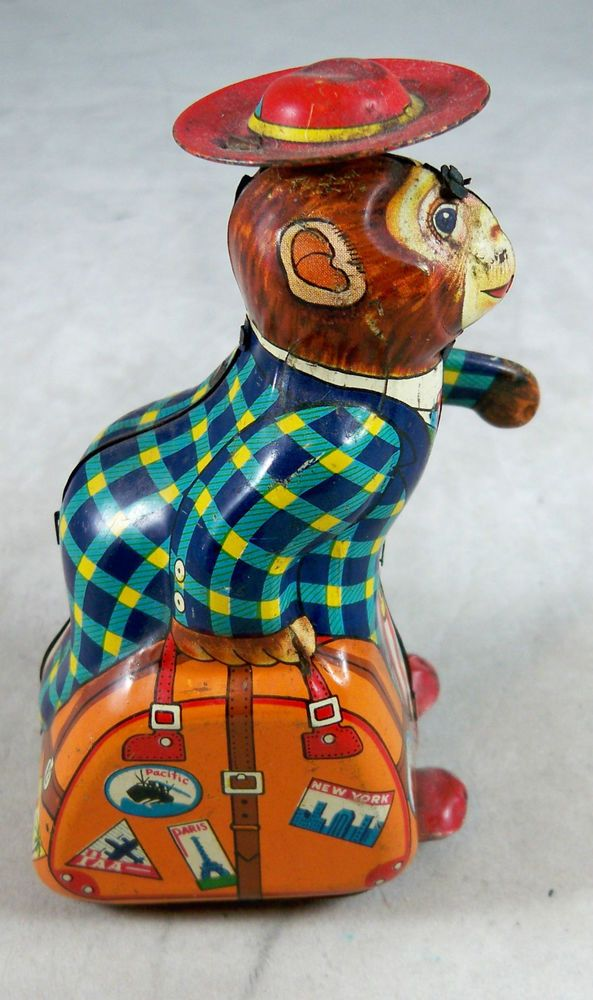"Tin Wind-Up Monkey with Suitcase - Marked ""K"" Japan ..."