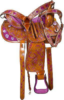 "15/"" Western Leather Barrel Pleasure Trail Black Torquish Horse Saddle Set Tack"
