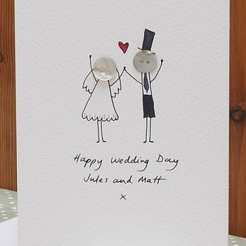 Personalised Button Wedding Hand Illustrated Card Pinterest