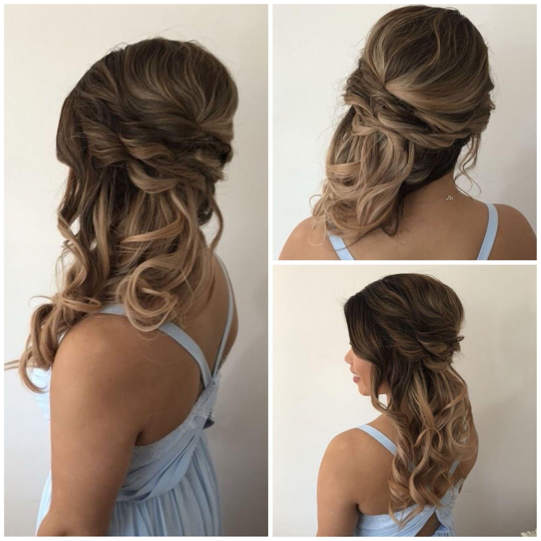 Side Swept Half Up Bridesmaid Hair Wedding Hair Side Side Swept Hairstyles Side Hairstyles