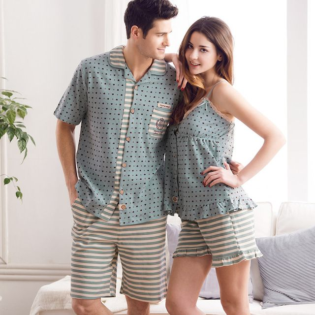 d088808972 Pajamas Women Summer Love Sleepwear Mens Pyjamas 100% Cotton Polka Dot  Ladies Sexy Vest Women s Lounge Couple Pajama Set XXL