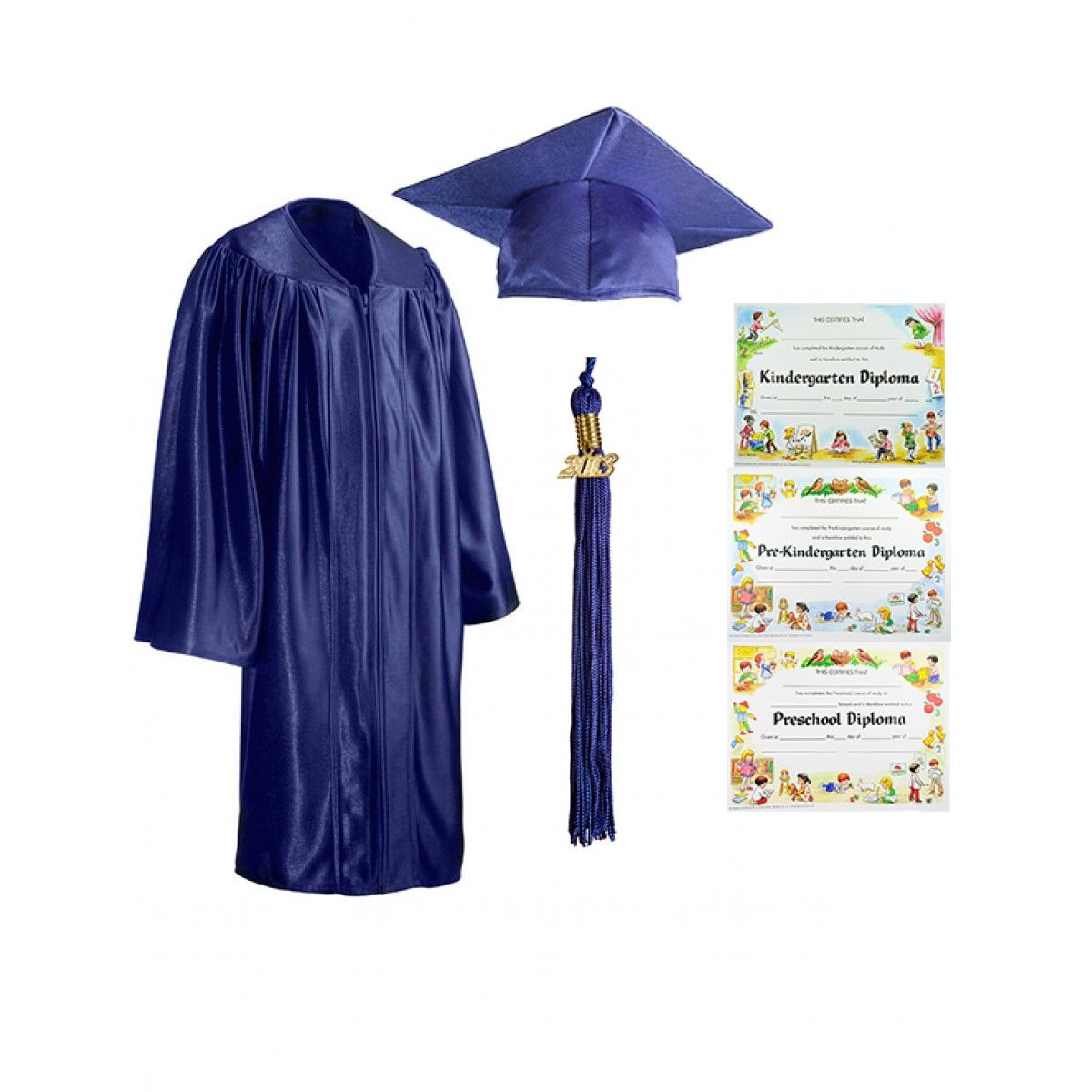 Child Shiny Royal Cap, Gown, Tassel & Diploma - Cap, Gown, Tassel ...