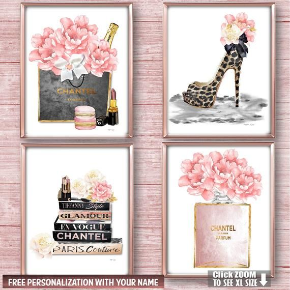 Add A Touch Of High Fashion Glamour To Your Bedroom Vanity Wall Or Diva Den This Elegant 4 Piece Fashio Fashion Wall Decor Fashion Wall Art Bedroom Wall Art