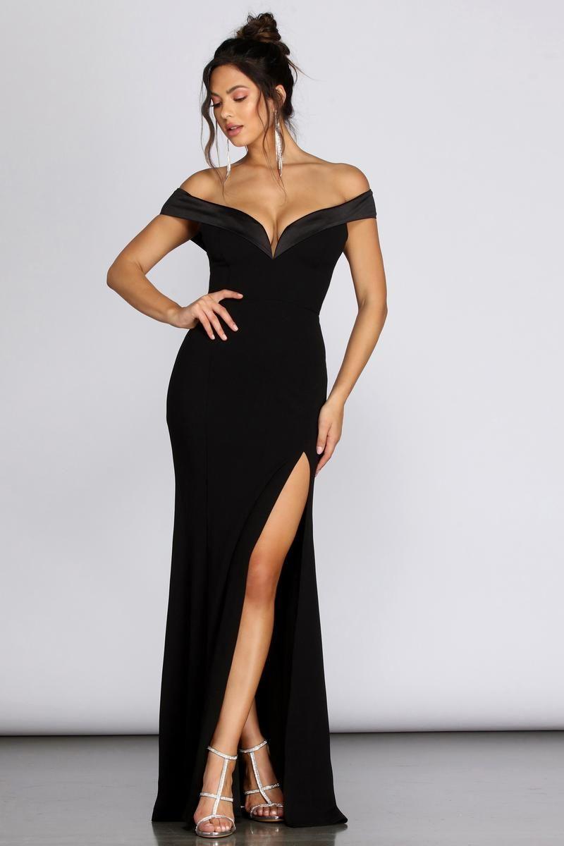 Monet Off Shoulder Evening Gown | Off shoulder evening gown