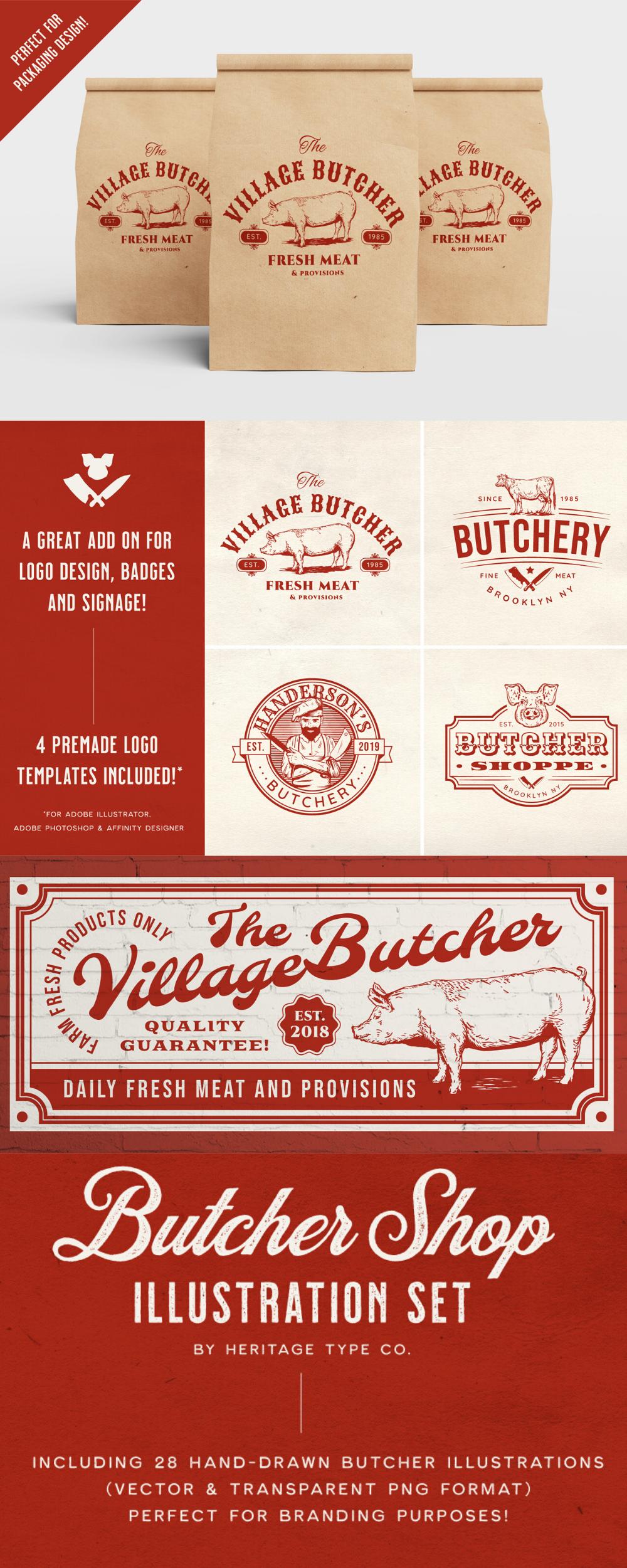 Butcher Shop Vector Illustration Set Metzgerei Metzgermesser Web Design