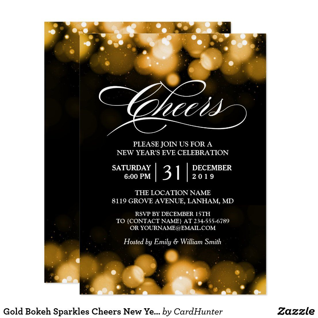 Gold Bokeh Sparkles Cheers New Year S Eve Party Invitation Zazzle Com New Years Eve Party Eve Parties Party Invitations