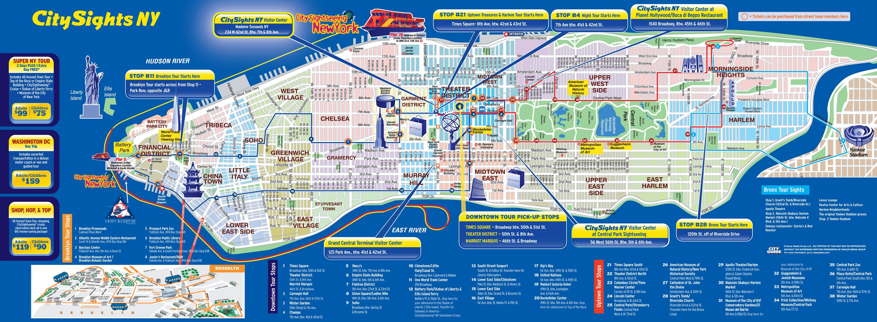 Hop On Hop Off Nyc Map Map of New York City hop on hop off bus tour with City Sights NY