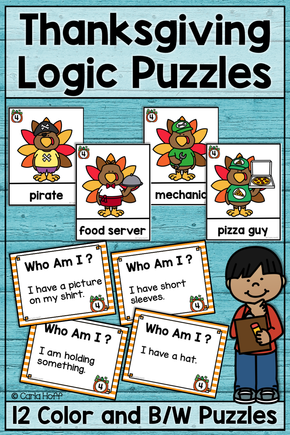 Who Am I? Thanksgiving Logic Puzzles Resources from My