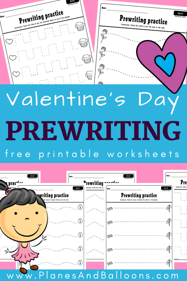 Valentine's Day prewriting activities for young learners is part of Pre writing activities, Pre writing, Pre writing practice, Kindergarten worksheets free printables, Valentine worksheets, Preschool activities - Free printable Valentine's day prewriting activities for preschool  Fun prewriting worksheets for improving fine motor skills and pencil grip