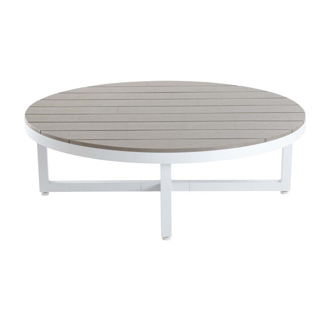Table basse ronde en composite et aluminium blanc   Maisons du Monde ...